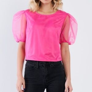 Tops - NWT - Retro 80's Style Hot Pink Puff Sleeve Blouse